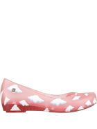 Melissa Pink Ballerina Flats For Girl With Clouds - Pink