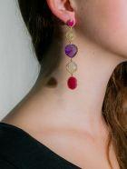 Bianca Baykam Crystal Detail Earrings - Viola Rosso Oro