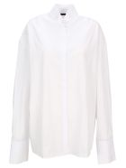 Haider Ackermann Oversized Shirt With Tuxedo Collar - WHITE