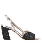 Miu Miu Glitter Sandals - GLITTERED BLACK + SILVER