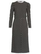 RED Valentino Long Stretch Dress With Polka Dots Print - Black