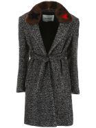 Ava Adore Chevron Coat With Mink Fur - NERO BIANCO (Grey)