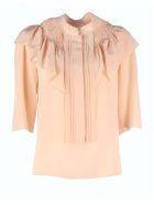 Chloé High Neck Cotton Shirt/rouches 3/4sleeves - Smoky Rose