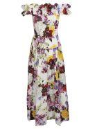 Dolce & Gabbana Floral Print Cold Shoulder Long Length Dress - Hawortensie Fiori