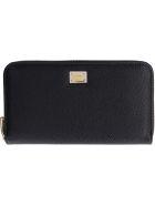 Dolce & Gabbana Leather Zip Around Wallet - black