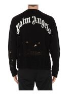 Palm Angels Distressed Logo Sweater - Blackwhite