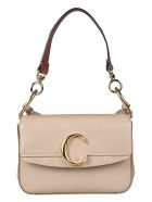 Chloé Logo Plaque Shoulder Bag - Motty grey