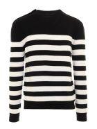 Balmain Black/white Wool Blend Jumper - Nero+bianco