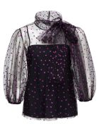 RED Valentino Purple Polka Dot Tulle Sweater - Fuxia