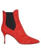 Sergio Rossi Red Stiletto Ankle Boots - Red