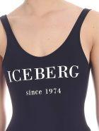 Iceberg Logo Print Swimsuit - Blue