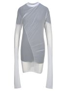Y/Project Y/project Sheer Ruched Top - BLACK + WHITE
