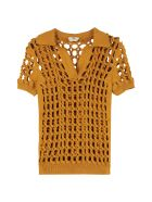Fendi Interlock Knit Polo Shirt - Mustard
