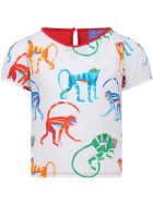 Stella Jean White And Red T-shirt For Girl With Colorful Monkeys - White