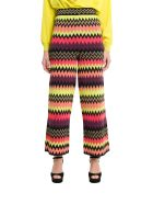 M Missoni Cropped Palazzo Trousers With Zigzag Motif - Multicolor