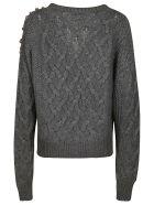 MSGM Crystal Embellished Woven Cardigan - Grey