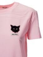 Miu Miu Cat Embellished T-shirt - Rosa
