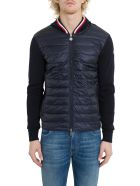Moncler Down Jacket With Knitted Sleeve - Blu