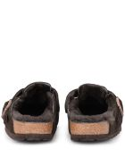 Birkenstock Boston Brown Suede And Fur Sabot - Brown