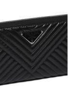 Prada Saffiano Quilted Zip Around Wallet - Nero