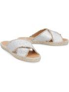 Castañer Palmera Leather And Jute Slides - silver