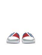 Prada Linea Rossa Graphic Logo Pool Sliders - Bianco bluette rosso