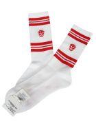 Alexander McQueen Skull Knitted Socks - White red