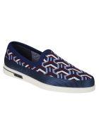Prada Linea Rossa Jacquard Knit Slip-on Sneakers - Light blue