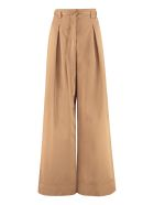 Tory Burch Cotton Will Wide Leg Trousers - Brown