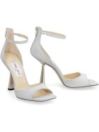 Jimmy Choo Reon 100 Glitter Ankle-strap Sandals - silver