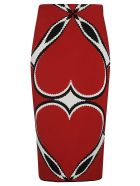 Alexander McQueen Heart Patterned Skirt - Rosso