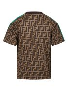 Fendi Brown T-shirt For Kids With Double Ff - Brown
