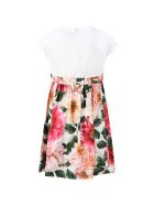 Dolce & Gabbana Multicolor Dress For Girl With Camellias - PINK/WHITE