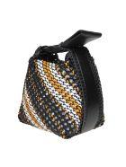 3.1 Phillip Lim Phillip Lim Ines Hand Bag In Braided Leather Color Black / White / Orange - Black/Multic