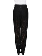 Dolce & Gabbana Floral Lace Trousers - Black