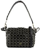 RED Valentino Black Leather Flower Puzzle Bag - Nero