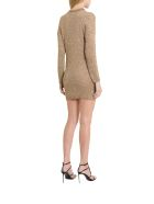 Saint Laurent Golden Lurex Knit Minidress With Sequins - Oro