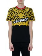 Versace Gold Hibiscus Bicolor T-shirt In Cotton - Black/gold