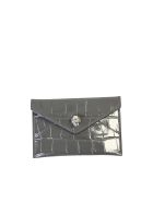 Alexander McQueen Crocodile Print Card Holder - Grey