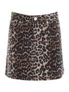 Ganni Leopard-printed Mini Skirt - LEO (Grey)