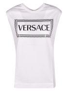 Versace Logo Sleeveless Tank Top - White