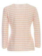 Emporio Armani Sweater 3/4s Boat Neck W/horizontal Lozenges - Fantasia Nudo