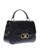 Salvatore Ferragamo Black Ganicini Matelassé Hand Bag In Leather - Black