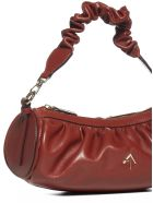 MANU Atelier Ruched Cylinder Leather Bag - Redbole