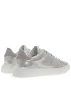 Philippe Model Silver Leather Sneakers With Suede Insert - Silver