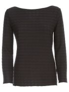 Emporio Armani Sweater 3/4s Boat Neck W/horizontal Lozenges - Fantasia Blu Navy