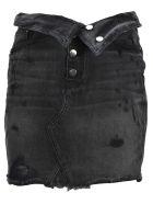 AMIRI Amiri Ripped Details Mini Skirt - BLACK