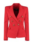 Balmain Double-breasted Wool Blazer - red