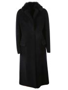 Blancha Fur Trimmed Long Coat - Navy