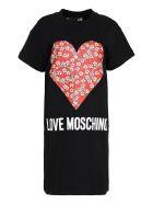 Love Moschino Printed Cotton Sweatdress - black